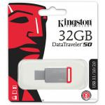 USB Flash Drive KINGSTON DataTraveler 50 32GB Silver/Red